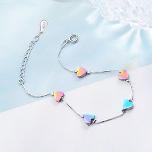 NEW 925 Sterling Silver Gradient Heart Bracelet